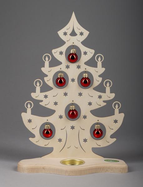 """Teelichthalter """"Weihnachtsbaum mit roten Kugeln"""""""