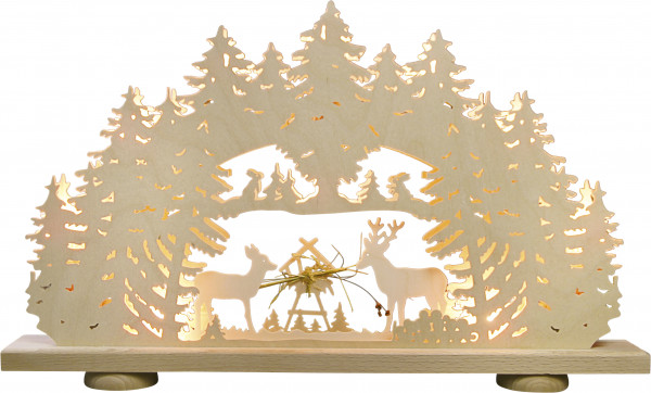 "Light arch ""Deer feeder"" with straw / with 10 bulbs"