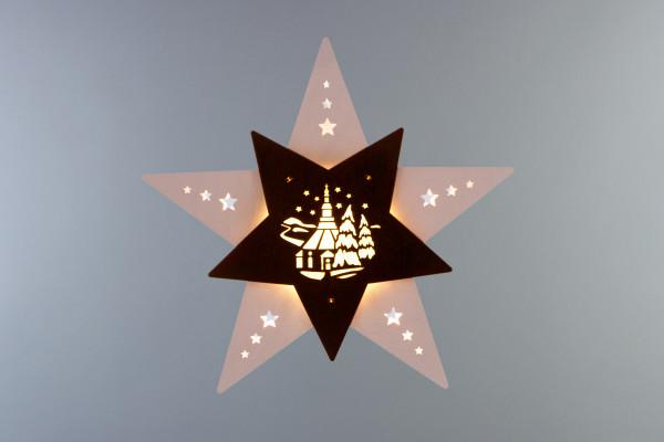"""Fensterbild Stern """"Seiffener Kirche"""" Weiß/Braun LED"""