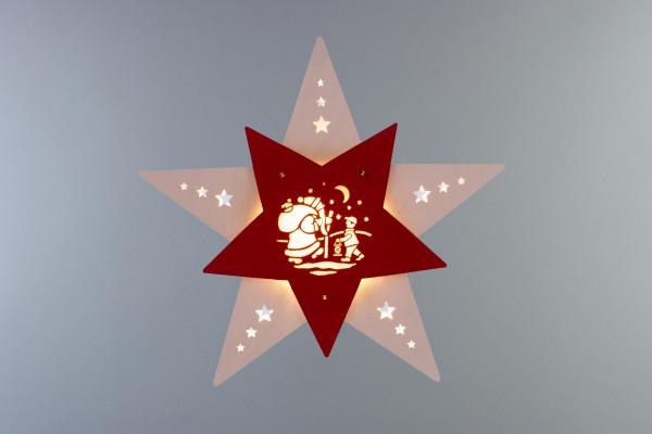 """Fensterbild Stern """"Knecht Ruprecht"""" Weiß/Rot LED"""