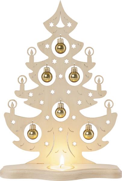 """Teelichthalter """"Weihnachtsbaum mit goldenen Kugeln"""""""