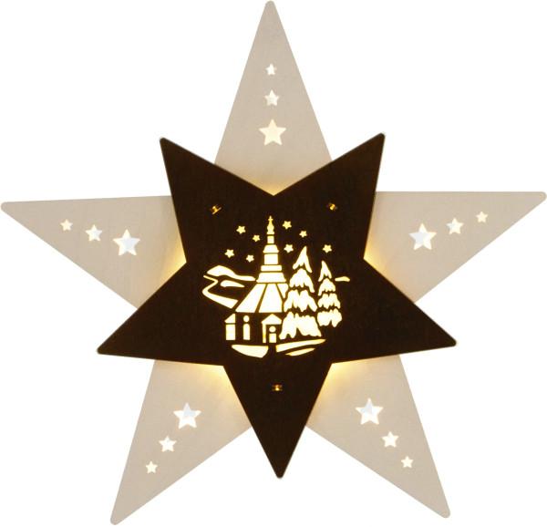 Fensterbild Stern LED Seiffner Kirche