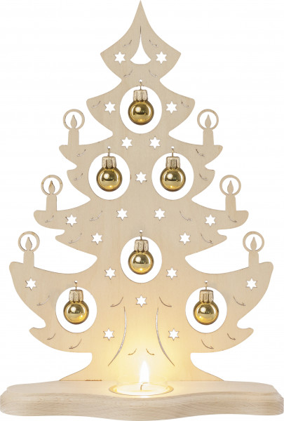 Teelichthalter Baum mit goldenen Kugeln