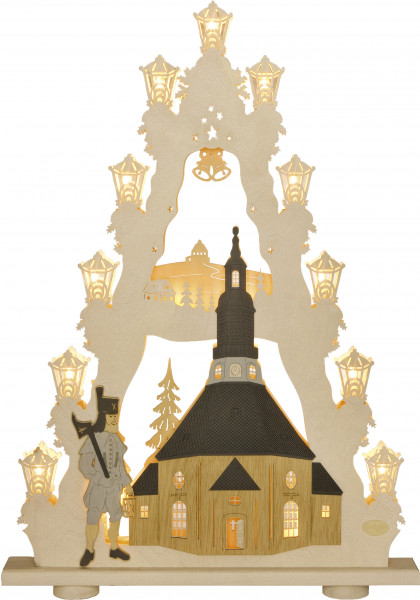 "Light pyramid ""Church of Seiffen"" 15 bulbs"