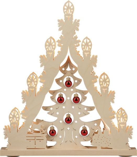 Lichterspitze 7 flammig Weihnachtsbaum mit roten Kugeln