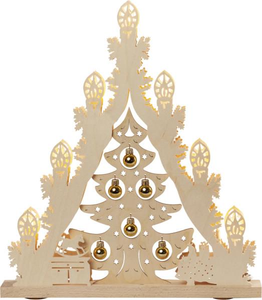 Lichterspitze 7 flammig Weihnachtsbaum mit goldenen Kugeln