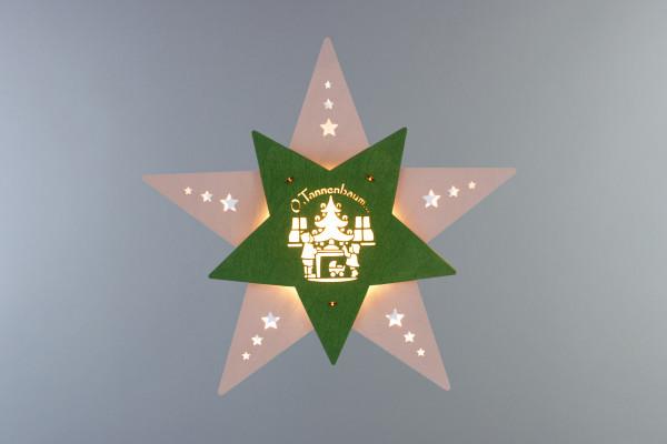 """Fensterbild Stern """"Oh Tannenbaum"""" Weiß/Grün LED"""