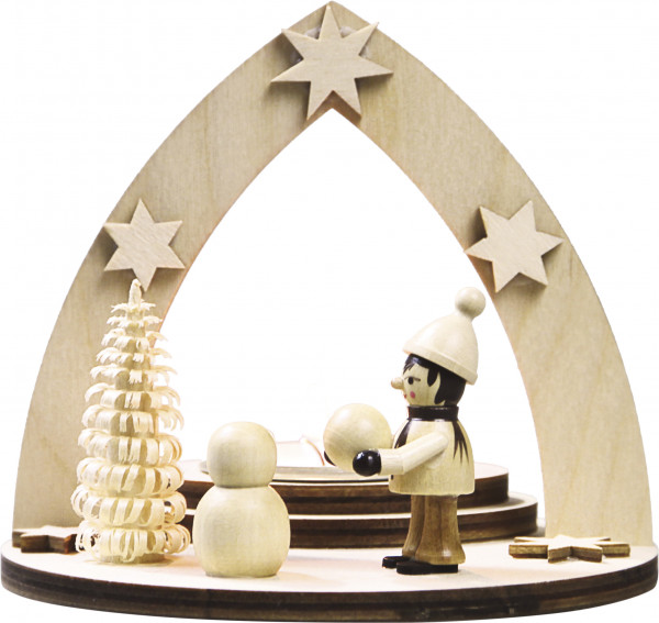 """Tealight holder """"Kids in the winter building a snowman"""" for 1 tealight"""