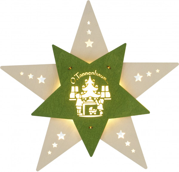 Fensterbild Stern LED Oh Tannenbaum