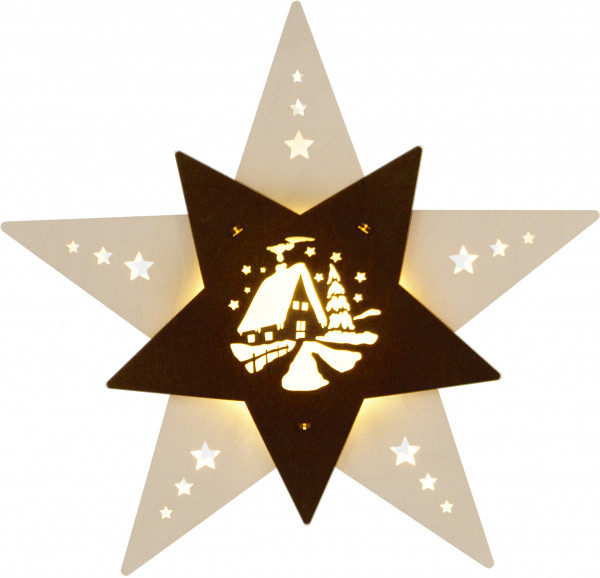 """Window light Star """"Forest house"""" White/Brown LED"""