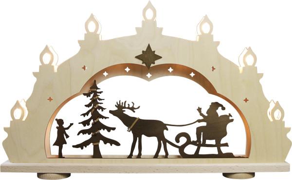 Schwibbogen Weihnachtsmann auf Schlitten