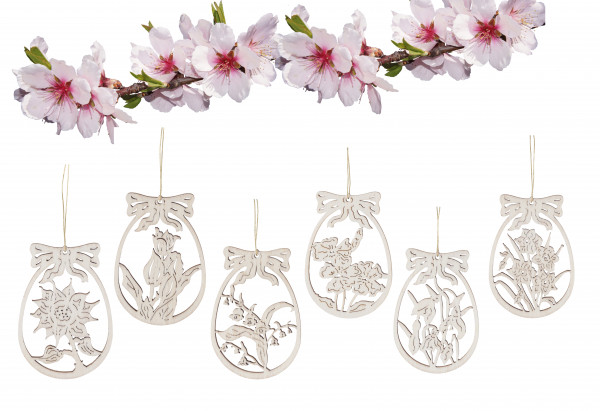 "Wooden ornament ""Flowers"" set of 6"