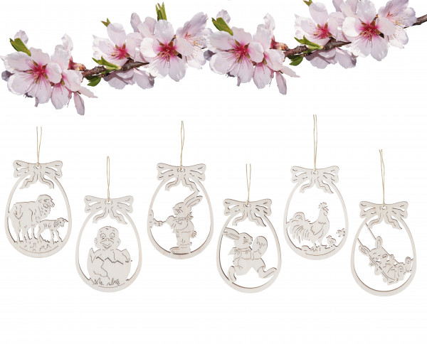 "Wooden ornament ""Easter"" set of 6"